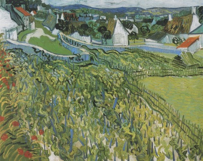 vineyard with view to auvers, auvers sur oise