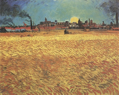 wheatfield at sunset, arles