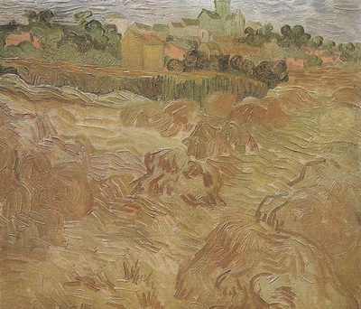 wheatfield with auvers in the background, auvers sur oise