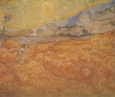 wheatfield with reaper, saint remy