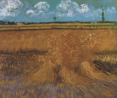 wheatfield with sheaves, arles