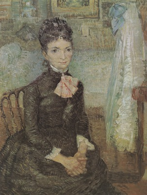 woman seated beside a cradle, paris