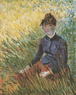 woman seated on the grass, paris