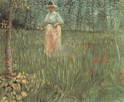 woman walking in a garden, paris