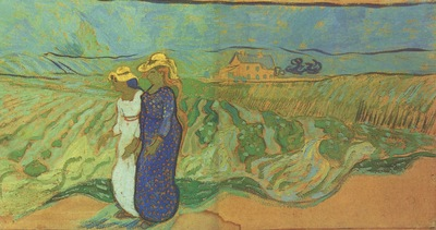 women across the field, auvers sur oise