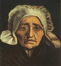 old female peasants head with white coif, nuenen