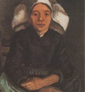 female peasant seated with white cap, nuenen
