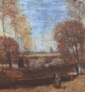the garden of the nuenens presbytery with lake and figures, nuenen