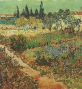 blooming garden with footpath, arles