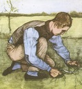 boy cuts grass with a sickle