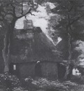 cottage with trees and a female peasant, nuenen