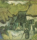 country houses with thatched roofs, auvers sur oise 1890, auvers sur oise