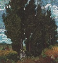 cypresses with two female figures, saint remy