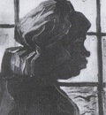 female peasant viewed at the window, nuenen