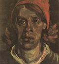 female peasants head, with red coif, nuenen