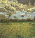 landscape under a stormy sky, arles