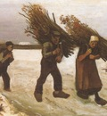 loaders of firewood in the snow, nuenen
