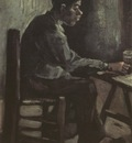 male peasant seating at the table, nuenen