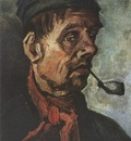 male peasants head with pipe, nuenen