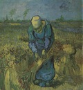 peasant binding sheaves as millet , saint remy