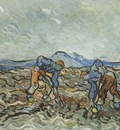 peasants dig potatoes, saint remy