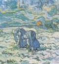 peasants digging a snow field, saint remy