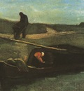 peats boat with two figures, drente