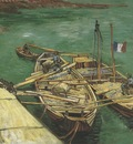 pier with men downloading the sand barge, arles