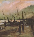pier with ships in antwerp, nuenen