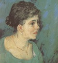 portrait of a woman in blue, nuenen