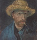 self portrait with straw hat and pipe, paris