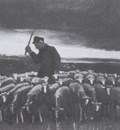 shepherd with flock of sheep, nuenen