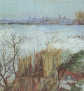 snow landscape with arles in the background, arles