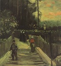 steep path in montmartre, paris