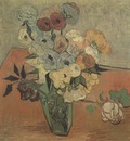 still life, japanese vase with roses and anemones, auvers sur oise