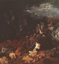still life with basket of potatoes, surrounded by autumn leaves and vegetables, nuenen