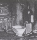 still life with ceramic dishes, beer glass and bottle, nuenen