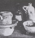 still life with ceramic dishes and two bottles, nuenen