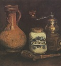 still life with coffee mill, pipe kit and cantharis, nuenen