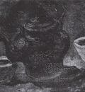 still life with copper percolator and two white pots, nuenen