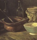 still life with three bottles and ceramic dishes, nuenen