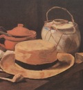 still life with yellow straw hat, nuenen