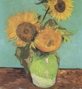 sunflowers in a vase, arles