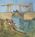 the langloiss bridge with washerwomen, arles