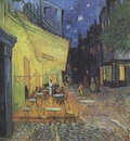 the terrace cafe on the place du forum in arles at night, arles
