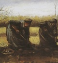 two female peasants digging potatoes, nuenen