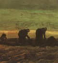 two peasants in the peats plantation, drente
