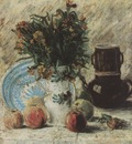vase with flowers, coffee pot and fruit, paris