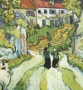 village street and stairs with figures in auvers, auvers sur oise