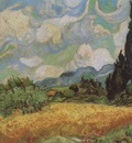 wheatfield with cypresses in haute galline, saint remy